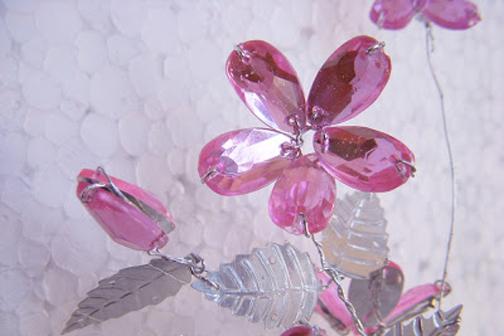 گل شیشه ای,روش ساخت گل کریستالی,گل پنج پر,گل تزئینی