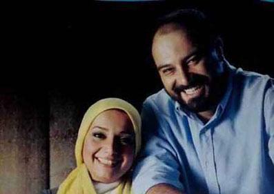 برزو ارجمند در کنار همسرش