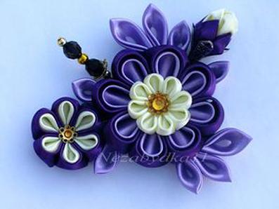 ساخت گل با روبان,آموزش ساخت گل با روبان,ساخت گل پارچه ای