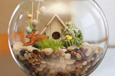 آموزش گلسازی داخل تنگ آب,ساخت باغ داخل تنگ ماهی,ساخت باغچه داخل تنگ