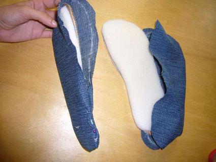 ساخت کفش با شلوار جین,دوخت کفش پارچه ای,ساخت کفش پارچه ای